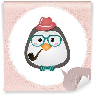 Vector Hipster Penguin greeting card design illustration Wall Mural - Vinyl