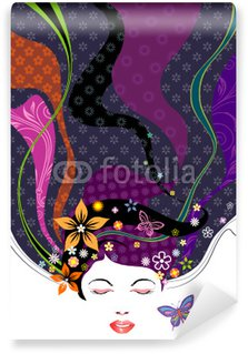Wall Mural - Vinyl Vector illustration of Floral pattern hairstyle design.