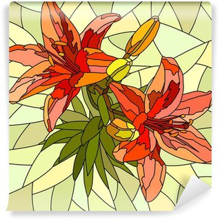 Vector illustration of flower red lilies. Wall Mural - Vinyl