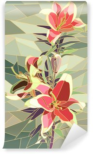 Vector illustration of flowers pink lily. Wall Mural - Vinyl