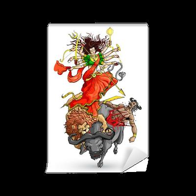 Vector Illustration Of Goddess Durga Killing Mahishasura