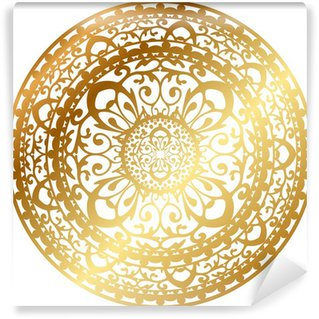 Vector illustration of gold oriental rug / napkin