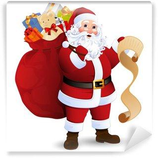 Wall Mural - Vinyl Vector Illustration of Santa Claus carrying sack full of gifts