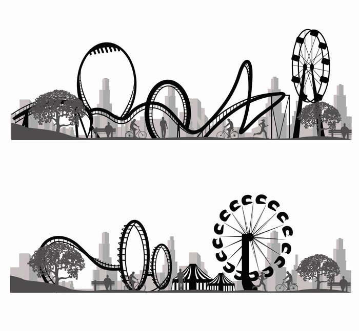 Vector illustration roller coaster silhouette wall mural for Mural vector