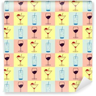 Vector seamless pattern background with alcoholic and non alcoholic beverages icons