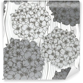 Vector seamless pattern with hydrangeas. Monochrome floral back