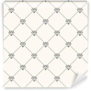Vector seamless retro pattern, with diamonds. Wall Mural - Vinyl