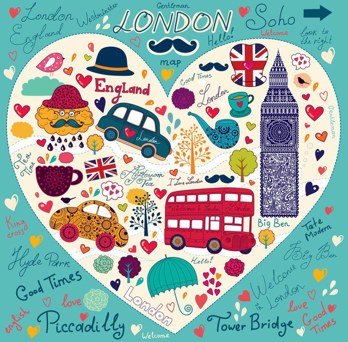 Vector set of london symbols and landmarks vinyl wall for Mural vector