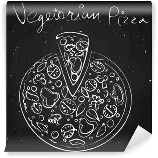 Vegetable pizza, drawn in chalk on a blackboard