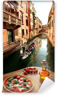 Venice with Italian pizza against canal in Italy Wall Mural - Vinyl