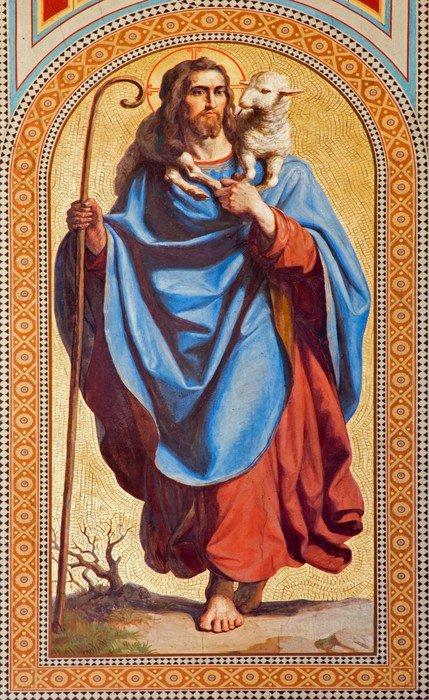 Vienna fresco of jesus christ as good shepherd wall for Clarks mural fresco