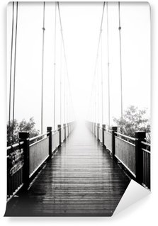 Wall Mural - Vinyl view on pedestrian wooden bridge in mist