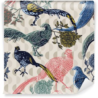 Vintage background with birds and flowers, fashion pattern Wall Mural - Vinyl