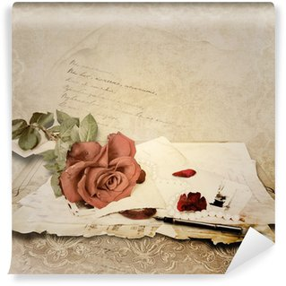 Vintage background with rose and old cards Wall Mural - Vinyl