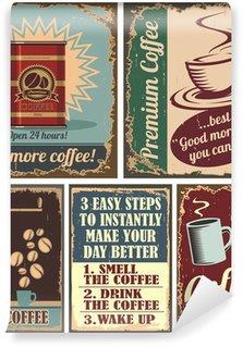 Vintage coffee posters and metal signs