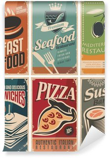 Vintage collection of food and restaurants posters Wall Mural - Vinyl