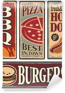 Wall Mural - Vinyl Vintage fast food tin signs