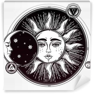 Vintage Hand Drawn Sun Eclipse With Planets Vinyl Wall Mural