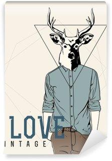 Vintage-Hipster Fashion Deer Illustration Wall Mural - Vinyl