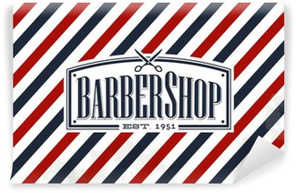 Wall Mural - Vinyl Vintage, Old Fashion styled Barber Shop