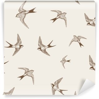 Wall Mural - Vinyl vintage pattern with white little swallows