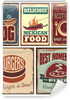 Vintage style tin signs and retro posters Wall Mural - Vinyl