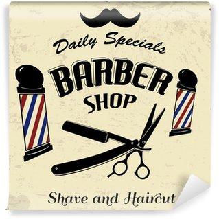 Vintage Styled Barber Shop Wall Mural - Vinyl