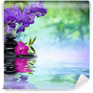 Wall Mural - Vinyl violet orchids, black stones on the water