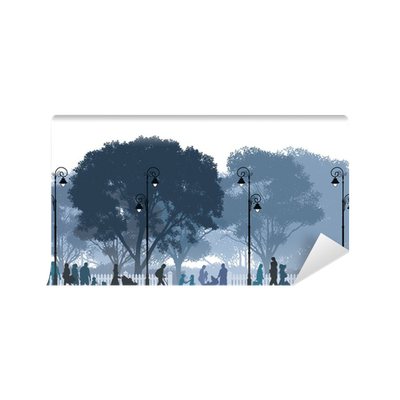 Walk in the park minimalist living room pixers we for Audience wall mural