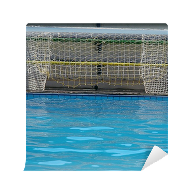 Water polo gates and a ball in blue swimming pool wall - How to make swimming pool water blue ...
