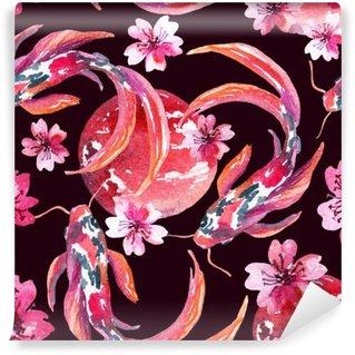 Watercolor asian koi fishes Wall Mural - Vinyl