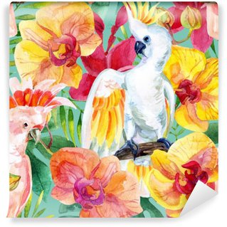 Vinyl Wall Mural watercolor Australian Cockatoo seamless pattern