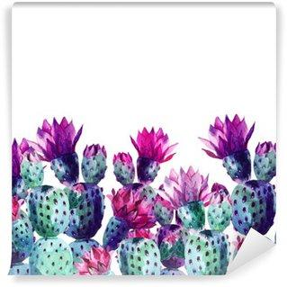 Watercolor cactus Wall Mural - Vinyl