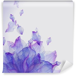 Watercolor card with Purple flower petal Vinyl Wall Mural