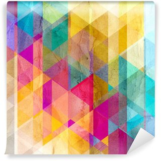 Wall Mural - Vinyl Watercolor geometric background with triangles