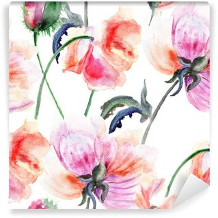 Watercolor illustration of Stylized Peony flower Wall Mural - Vinyl