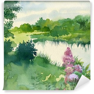 Wall Mural - Vinyl Watercolor Landscape Collection: Near the River