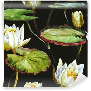Watercolor lotus pattern Wall Mural - Vinyl