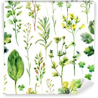 Wall Mural - Vinyl Watercolor meadow weeds and herbs seamless pattern