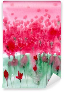 Wall Mural - Vinyl Watercolor painting. Background meadow with red flowers.