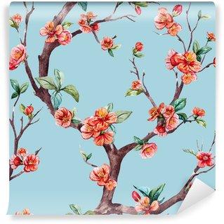 Watercolor raster sakura pattern Wall Mural - Vinyl
