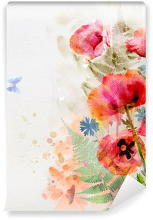 Watercolor red poppies