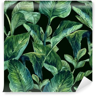 Vinyl Wall Mural Watercolor Seamless Background with Tropical Leaves