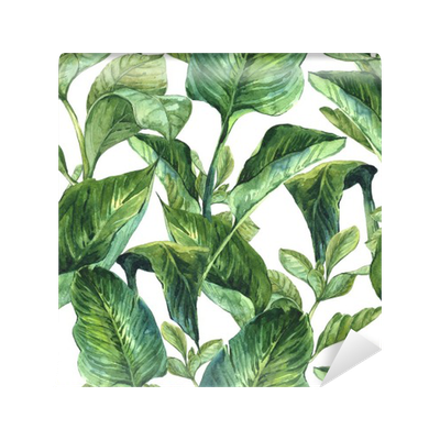 Watercolor Seamless Background with Tropical Leaves Wall Mural - Vinyl