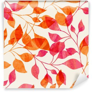 Watercolor seamless pattern with pink and orange autumn leaves.