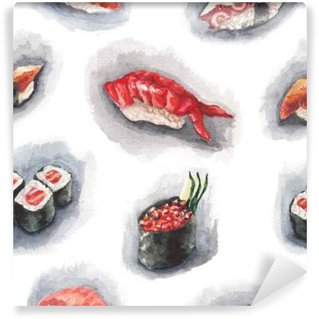 Wall Mural - Vinyl Watercolor sushi pattern
