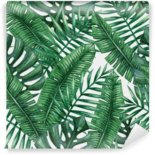 Wall Mural - Vinyl Watercolor tropical palm leaves seamless pattern. Vector illustration.