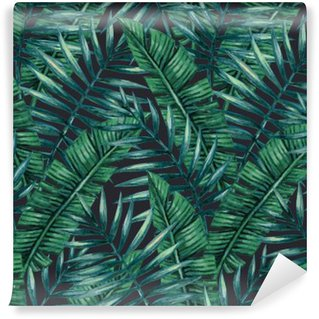 Watercolor tropical palm leaves seamless pattern. Vector illustration. Wall Mural - Vinyl