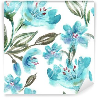 Vinyl Wall Mural Watercolor Turquoise Flowers Seamless Pattern