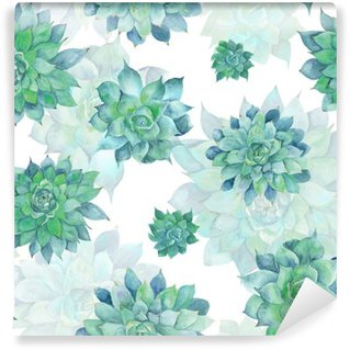 Vinyl Wall Mural Watercolor Turquoise Succulent Pattern